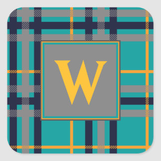 Blue and Orange Plaid Sticker