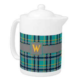 Blue and Orange Plaid Teapot