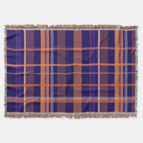 Blue and Orange Plaid Throw Blanket