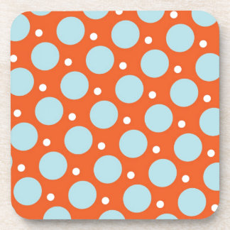 Blue and Orange Polka Dots Pattern Gifts Drink Coaster