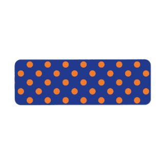Blue and Orange Polka Dots Return Address Label