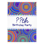 Blue and Orange Retro Circles Birthday Personalized Invites
