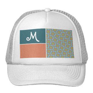 Blue and Orange Retro Pattern Hats