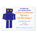 Blue and Orange Robot Birthday Party Invitations