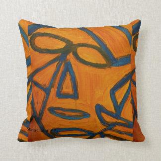 Blue and Orange Robot Man Throw Pillow