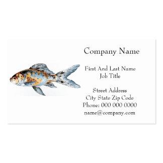 Blue and Orange Shubunkin Goldfish Fish Drawing Business Card