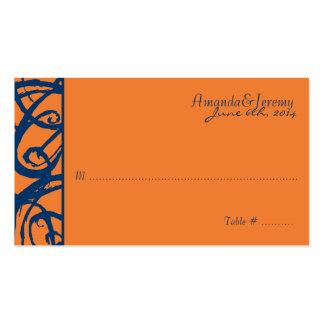Blue and Orange Sketchy Frame Wedding Business Card Template