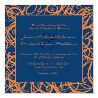 Blue and Orange Sketchy Frame Wedding Invitation