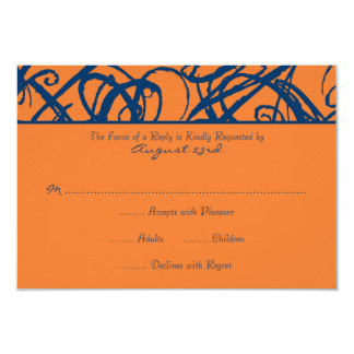 Blue and Orange Sketchy Frame Wedding RSVP Card
