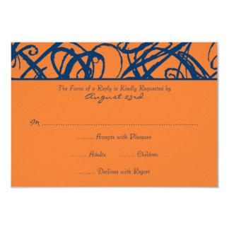 Blue and Orange Sketchy Frame Wedding RSVP Card
