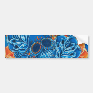 Blue and Orange Skulls Bumper Sticker