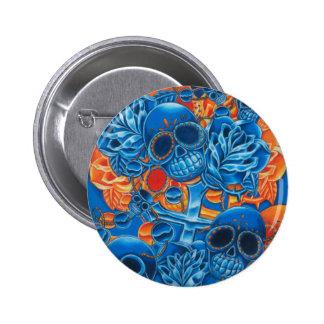Blue and Orange Skulls Pin