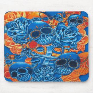 Blue and Orange Skulls Mouse Pads