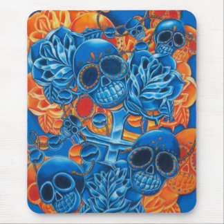 Blue and Orange Skulls Mouse Pad