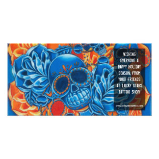 Blue and Orange Skulls Photo Card Template