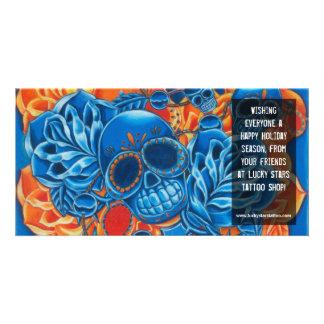 Blue and Orange Skulls Photo Card Template