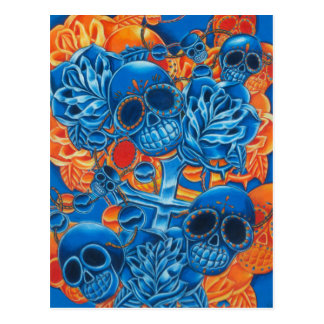 Blue and Orange Skulls Postcard