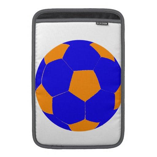 Blue and Orange Soccer Ball MacBook Air Sleeves