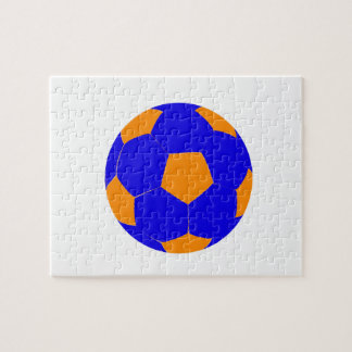 Blue and Orange Soccer Ball Jigsaw Puzzle