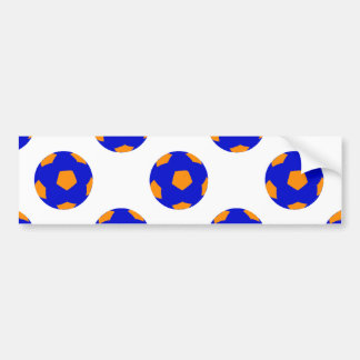 Blue and Orange Soccer Ball Pattern Bumper Sticker