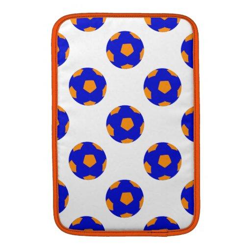 Blue and Orange Soccer Ball Pattern MacBook Air Sleeves