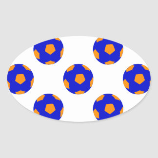 Blue and Orange Soccer Ball Pattern Oval Sticker