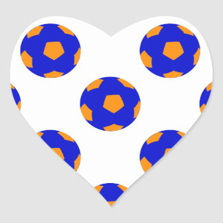 Blue and Orange Soccer Ball Pattern Heart Sticker
