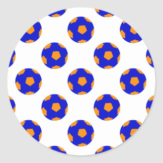 Blue and Orange Soccer Ball Pattern Classic Round Sticker