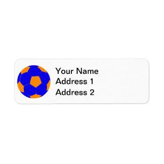 Blue and Orange Soccer Ball Return Address Label