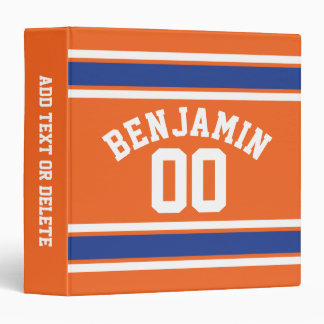 Blue and Orange Sports Jersey Custom Name Number Binder