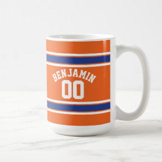 Blue and Orange Sports Jersey Custom Name Number Coffee Mug