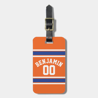 Blue and Orange Sports Jersey Custom Name Number Luggage Tag