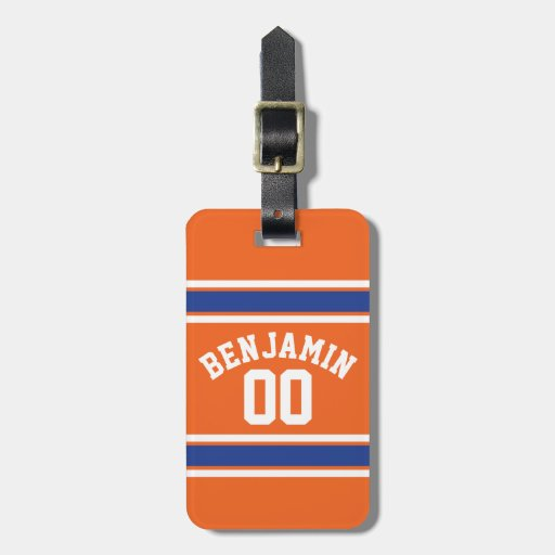 Blue and Orange Sports Jersey Custom Name Number Tags For Luggage
