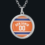 """Blue and Orange Sports Jersey Custom Name Number Silver Plated Necklace<br><div class=""""desc"""">If you are a Fantasy Football team owner,  make your own products and show off to your friends! Or - Do you play High School Football and want a memento? This sports design is perfect for any athlete playing soccer or baseball.</div>"""