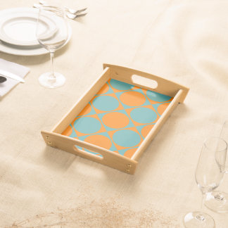 Blue and Orange Squares and Circles Design Serving Tray