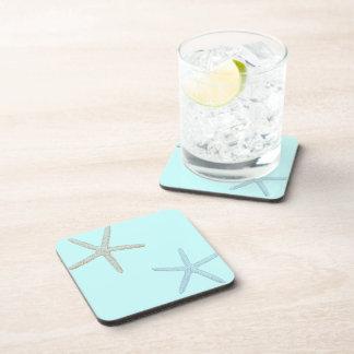 Blue and Orange Starfish Beverage Coasters