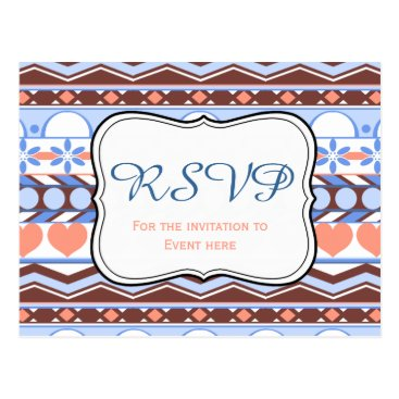 Aztec Themed blue and orange striped aztec pattern RSVP card
