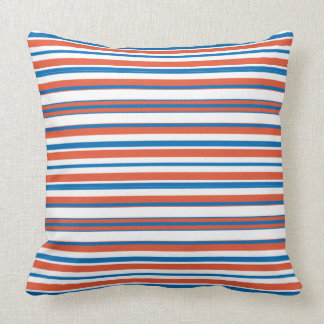Blue And Orange Striped Throw Pillow