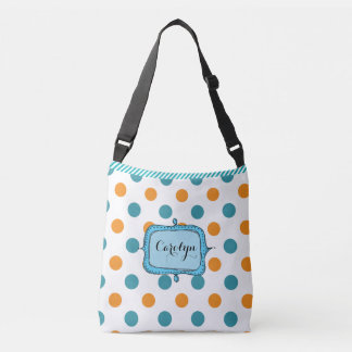 Blue and Orange Stripes and Dots Customized Bag