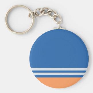 Blue and Orange Stripes Basic Round Button Keychain