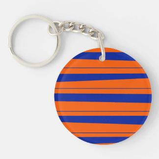 Blue and Orange Stripes Bold Gators Pattern Double-Sided Round Acrylic Keychain