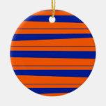 Blue and Orange Stripes Bold Gators Pattern Christmas Ornaments