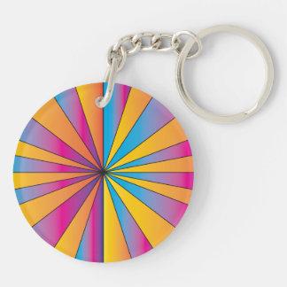 Blue and Orange Stripes Design Double-Sided Round Acrylic Keychain