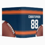 Blue and Orange Stripes Jersey Grid Iron Football 3 Ring Binder