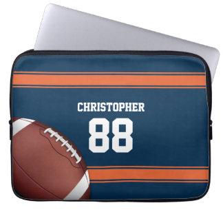 Blue and Orange Stripes Jersey Grid Iron Football Computer Sleeve