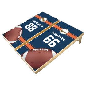 Blue and Orange Stripes Jersey Grid Iron Football Cornhole Sets