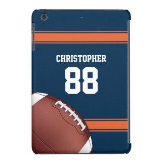 Blue and Orange Stripes Jersey Grid Iron Football iPad Mini Cover