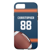 Blue and Orange Stripes Jersey Grid Iron Football iPhone 7 Case