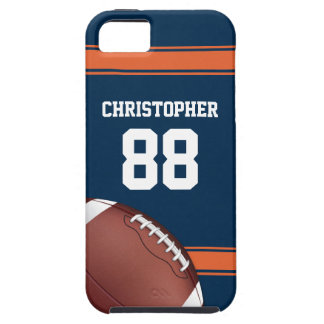 Blue and Orange Stripes Jersey Grid Iron Football iPhone SE/5/5s Case