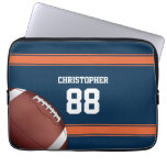 Blue and Orange Stripes Jersey Grid Iron Football Laptop Sleeves